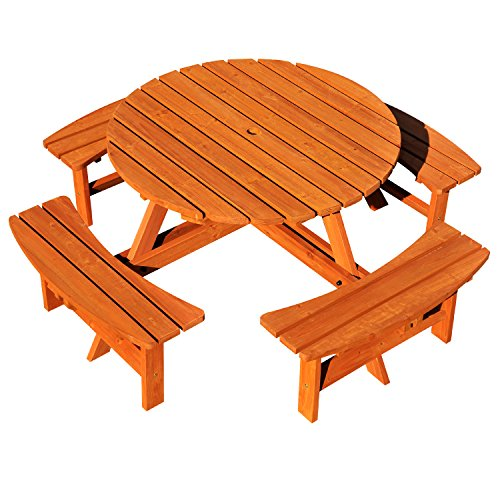 Outsunny 8 Seater Round Wooden Pub Bench Picnic Table Furniture Set for Outdoor Garden or Patio