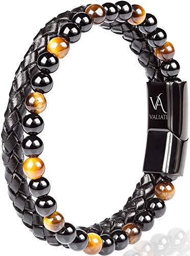 VALIATI   Premium Armband Herren mit echtem Leder und Natursteinen   Lederarmband für Männer   Magnetverschluss aus Edelstahl   inklusive Schmuckschachtel   Tolles Geschenk für Männer