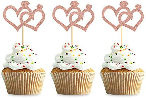 Keaziu 48 PCS Rose Gold Heart Cupcake Toppers Love Cupcake Picks for Wedding Bridal Anniversary product image