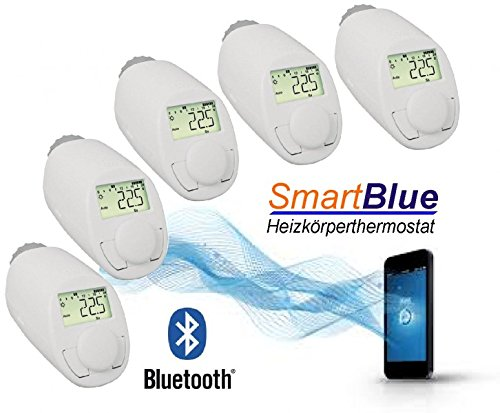 SmartBlue Heizköperthermostat Bluetooth 5-er Set, Programmierung über Smartphone oder Tablet
