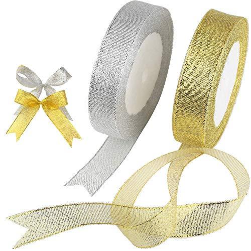 HAPPY FINDING 25 Yard Schleifenband zum basteln Goldband Glitzer Dekoband, 2 Rolle Geschenkband Dekoband Band für Verpackung Party Geschenk Hochzeit, Weihnachten Dekoration(Gold und Silber)