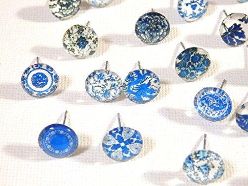 『Nadeju 24個 アラベスク 和柄 ガラス カボション ステンレス スタッド ピアス』の4枚目の画像