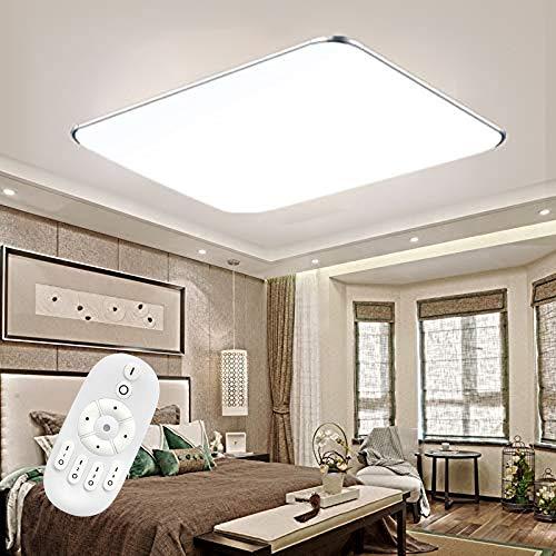 Froadp Dimmbar LED Deckenleuchte Panel Stufenlosen Dimmens mit Fernbedienung Flimmerfreie Deckenlampe IP44 Blendfrei für Küche Schlafzimmer Flur Wohnzimmer(48W)