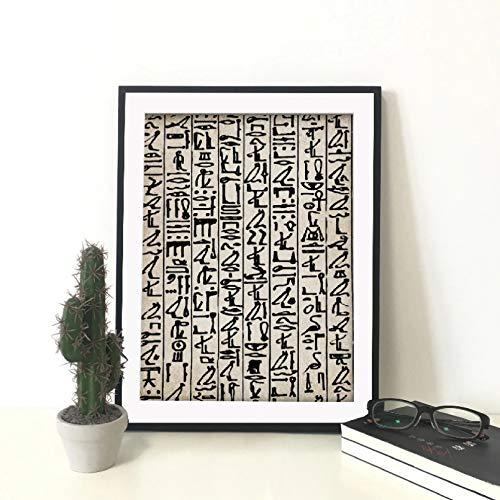 GUDOJK Cuadro sobre Lienzo para Pared con impresión, póster Abstracto, jeroglíficos egipcios Antiguos, Escritura, Imagen nórdica para la decoración del hogar de la Sala de estar-50X70CM
