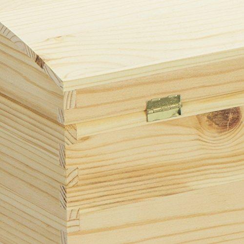 VENKON – Holztruhe mit gewölbtem Deckel aus Massivholz mit Metallverschluss – Kiefer naturbelassen unbehandelt, 35x25x19cm - 5