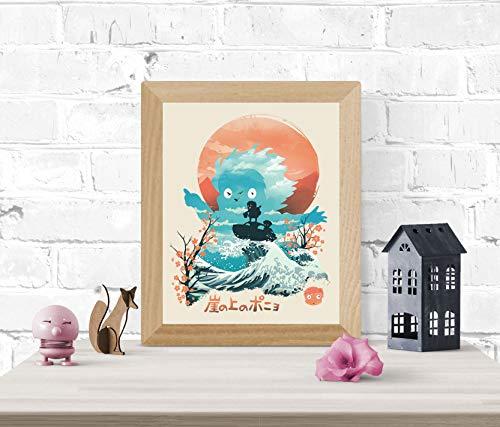 Ponyo Print - Studio Ghibli Wall Art 8 x 10 Unframed Japanese Anime Artwork Haku Dragon Print Hayao Miyazaki Wall Hanging Cool Movie Home Decor, Fujimoto Jellyfish Tsunami Artwork