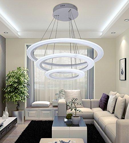 JN Moderne Minimaliste LED Lustre Salle à Manger Lampe Salon Lampe Acrylique Lustre Rond Creative Bureau Lampe Design,40 * 60 * 80CM,Lumière Infinie