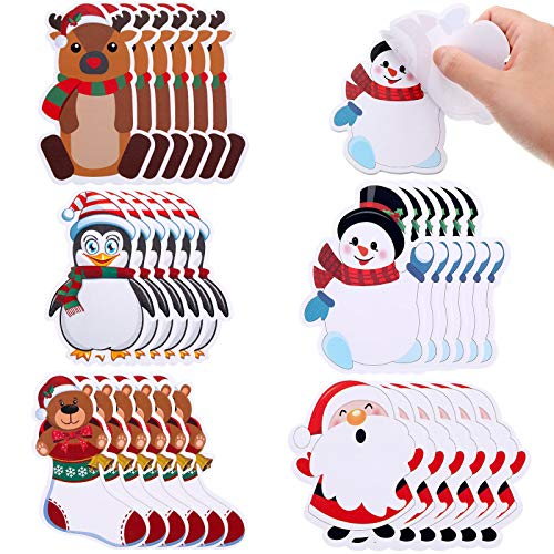 30 Pieces Christmas Notepad Winter Theme Self Sticky Notes Holiday Memo Notes for Work Study Decoration Present, Christmas Elements 5 Styles