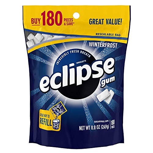 ECLIPSE Winterfrost Sugarfree Gum, 8.8-Ounce 180 piece bag - PACK OF 3