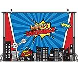 LYWYGG 7x5FT Vinilo Colorido Fotografía Telón de Fondo Edificios de la Ciudad Dibujos Animados Superhéroe Cumpleaños Cumpleaños Niños Photocall para Fiesta Studio Props CP-135