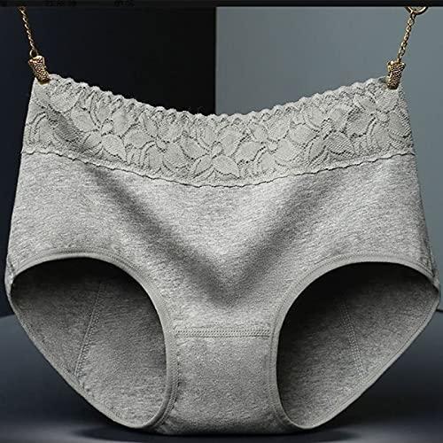 NQCT Ropa Interior a Prueba de Fugas de Las Mujeres, Cintura Alta, Encaje cálido, Transpirable, a Prueba de Fugas y cómodo después del Parto 0721 (Color : Gray, Size : XL)