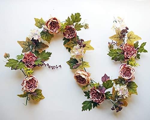 ES ESSENTIALS 72″ (6′) Cabbage Rose and Hydrangea Berry Garland (Mauve) Silk Flower Arrangements