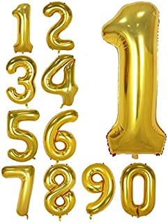 40 Inch Gold Foil Balloons Number 1, Number Balloons for Birthday Anniversary Party (Gold 1)