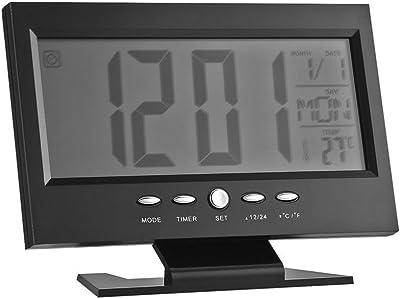 WINOMO despertador digital gran pantalla grande moderno LCD retroiluminación LED Snooze sueño temporizador gran – Número con hora fecha Temp (negro): Amazon.es: Hogar