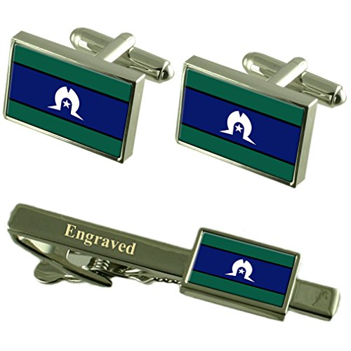 Select Gifts Torres Strait Islanders Flag Cufflinks Engraved Tie Clip Matching Box Set