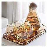 Hermosamente Conjuntos de té Botella de agua fría del hogar, juego de té de cristal, taza de agua hexagonal, vidrio de whisky, conveniente para oficina en casa (Color: Gris ahumado) ( Color : Amber )