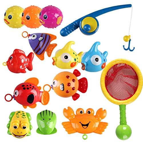 Smosyo Juguetes de Pesca Juguetes de baño bebé 15 Piezas Juguetes de baño para niños Juguetes de Pesca Juego de Pesca Juego de Agua Juguetes de baño Juego Educativo Juego Educativo Perfecto Regalo