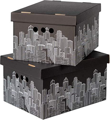 ASP Confezione da 2 scatole Decorative con coperchi Home Office Camera da Letto Armadio Scatola Organizer Scatola archivio con Coperchio Scatola per banchieri Scatola archivio Generale, Città, Grande