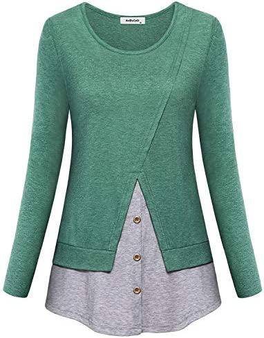 AxByCzD Long Sleeve Tunics for Women Feminine Elegant Tops to Wear with Leggings Trendy Office product image