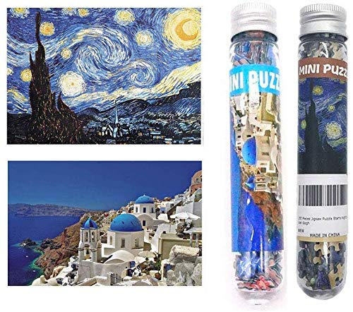 2Pcs Small Jigsaw Puzzles for Adults - 150 Pieces Small Aegean Sea Starry Night Jigsaw Puzzle for Adult(6 x 4 Inches)