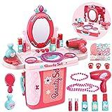 Buyger 3 en 1 Kit Maquillaje Niñas Maletin Belleza Peluqueria Tocador Juguete con Secador de Pelo Joyería Espejo Accesorios
