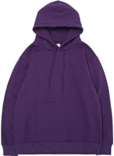 Sweatshirts Europe and the United States autumn and winter hooded loose men's pullover, solid color base plus velvet drawstring sweatshirt
