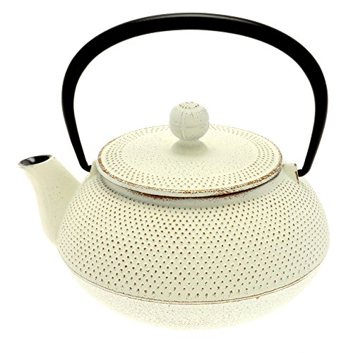 Iwachu Japanische Tetsubin-Teekanne, Eisen, Gold/Weiß