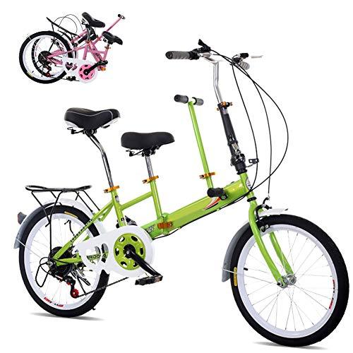 DYWOZDP Tandem Klappräder Travel Faltrad, Klappbar Tandem Fahrrad Family Fahrrad 2-Sitzer, Zusammenklappbar City Tandem Fahrrad, Last: 100 Kg, 20 Zoll,Grün