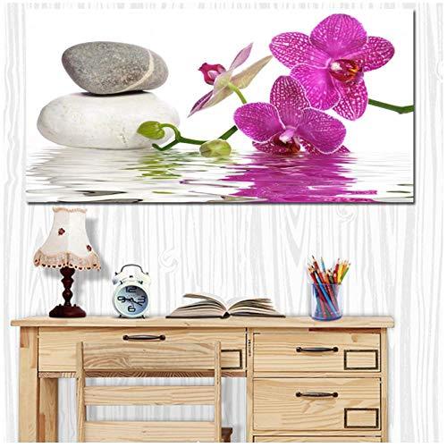 Ywsen HD Drucken Moderne Lila Orchidee Zen Spa Stein Spa Stil Leinwand Malerei Poster Wandkunst Bild für Wohnzimmer Dekorative (kein Rahmen) 50x100 cm