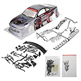 SUCHUANGUANG 1/10 RC Karosserie Shell Modifikation 190mm On Road Drift Car Shell Mit Lichtschale Silber lackiertes PVC Proetctive