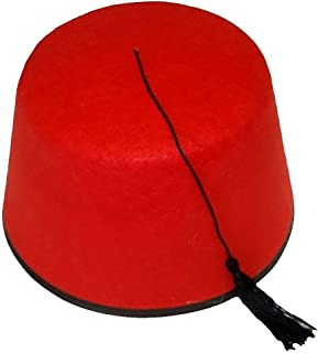 MA ONLINE Adults Fancy Red Fez with Black Tassel Hat Unisex Hen Night Party Accessory