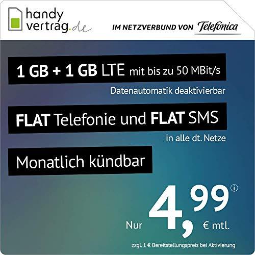 handyvertrag.de LTE All 1 GB + 1 GB - monatlich kündbar (Flat Internet 2 GB LTE mit max. 50 MBit/s mit deaktivierbarer Datenautomatik, Flat Telefonie, Flat SMS und EU-Ausland, 4,99 Euro/Monat)