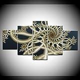 DGGDVP 5 Piezas/Set Serie de Patrones Abstractos Pintura de Lienzo Decoración de Sala de Estar Grande Imprimir imágenes de Lienzo Tamaño 2 con Marco