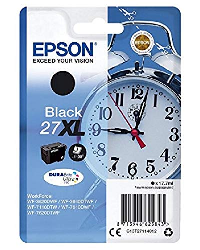 Epson 27 DURABrite Ultra Ink- Cartuccia d'Inchiostro, XL, Nero (Black)