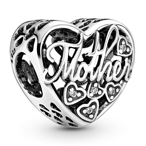 Pandora Jewelry Mother and Son Script Openwork Cubic Zirconia Charm in Sterling Silver