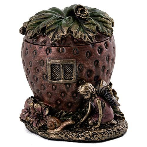 Top Collection Strawberry Jewelry House Holder - Cute Fairy Accessory Trinket Box in Premium Cold Cast Bronze - 2.5-Inch Collectible Fantasy Storage Organizer Figurine