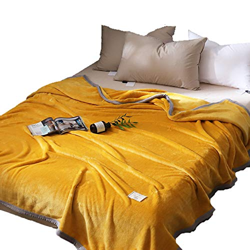 WSAD Le Printemps Et L'Automne De Sieste, des Couvertures, des Draps De Flanelle, Quilts,200Cmx230Cm,De La Moutarde Jaune
