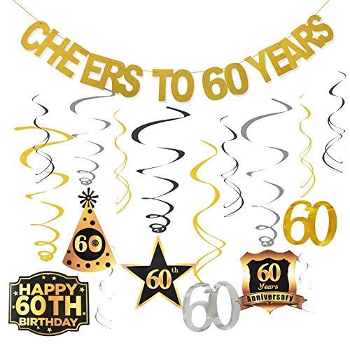 GuassLee - Kit de decoración para fiesta de 60 cumpleaños con diseño de espirales para 60 años para mujeres y hombres
