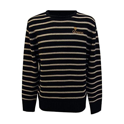 Official Guinness Rundhals Sweatshirt mit Kreuzstich, Grau und Schwarz Streifen - grau, Grau, Medium