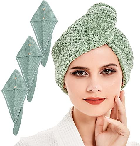 BW&HM Toalla de secado de pelo de microfibra, turbante súper absorbente, ultra suave, 25 x 65 cm, 3 unidades, color verde claro