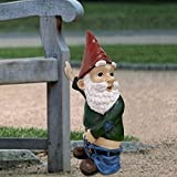 """foreverH Peeing Gnome - 10"""" Tall Polyresin - Dwarf Gnome Decors for Lawn Ornaments, Indoor or Outdoor Decorations - Red and Green Funny Flashing Gnomes"""