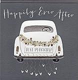 Belly Button Designs Glückwunschkarte zur Hochzeit mit Prägung und Folienauflage in Silber, veredelt mit ausgewählten Kristallen. Hochwertiger Umschlag in edlem steingrau. BB182