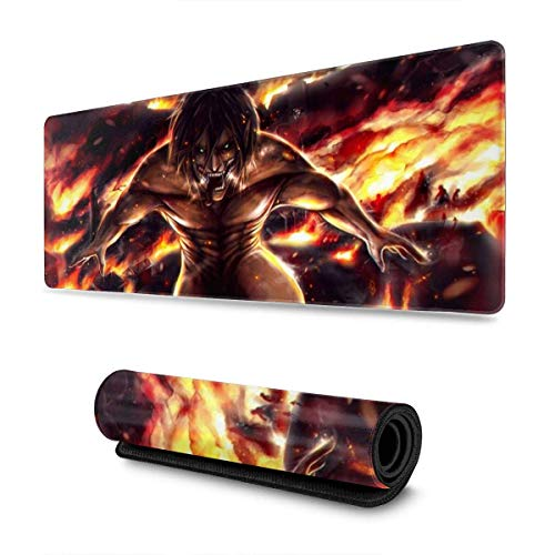 Attack(-On-) Titan Gaming Mouse Pad Non-Slip Large Rubber Extended Stitched Edgesits Mats Long Mat for Gamer Or Offices