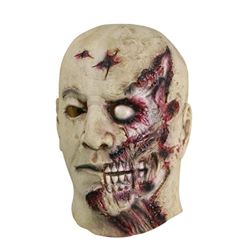 Molezu Scary Bloody Zombie Mask Adult Creepy Halloween Costume Party Horror Decoration Props
