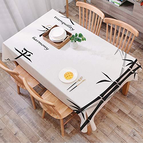 Nappe Rectangulaire Nappe Coton et Lin,Décor de bambou, Illustration de symboles chinois pour Tranquility Harmony Paix avec motif de b,LavableModerne pour Décoration de Table de Cuisine (140 x 200 cm)