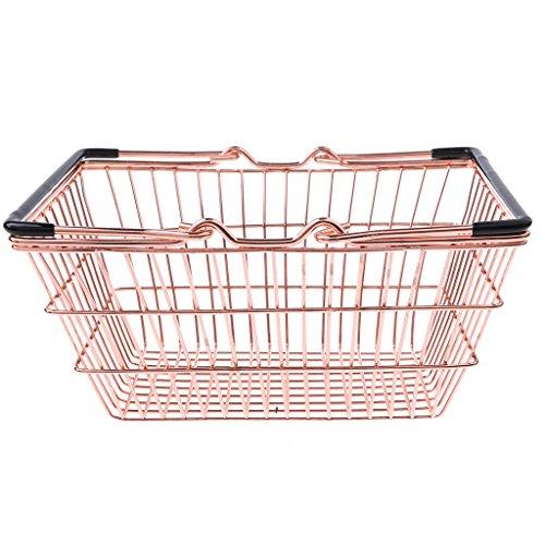 Homyl Kinder Kaufläden Rollenspielzeug - Mini Supermarkt Einkaufskorb Verkaufskorb mit 2 Griffe Spielzeug - Golden, M