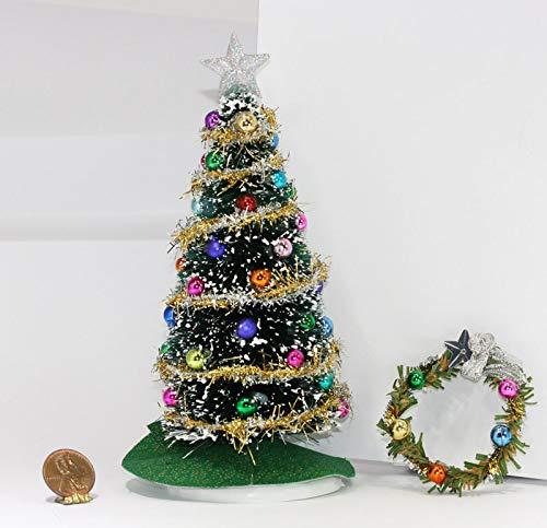 Dollhouse Miniature 1:12 Scale Christmas Tree and Wreath Set