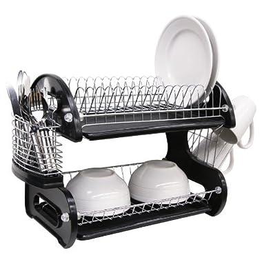 Home Basics Dish Plastic Drainer, 2-Tier, Black