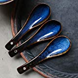 LIAN Japanische Art Keramik Suppe Löffel Retro Ramen Schüssel Suppe Löffel Reis Löffel Kreative Löffel Blau - 2