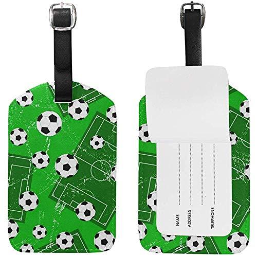 Fußballtor und Fußball Sportplatz drucken Gepäckanhänger Travel ID Bag Tag für Koffer 2 Stück